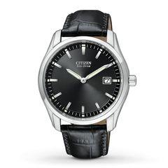 Đồng Hồ Nam Citizen Eco Drive Black Dial Black Leather Men's Watch AU1040-08E