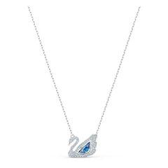 Dây Chuyền Swarovski Dancing Swan Necklace, Blue, Rhodium Plated