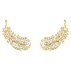 Khuyên Tai Swarovski Nice Stud Pierced Earrings, White, Gold-tone Plated