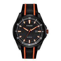 Đồng Hồ Nam Citizen AW1608-01E Ar Black Dial Orange Stainless Steel Màu Đen Phối Cam