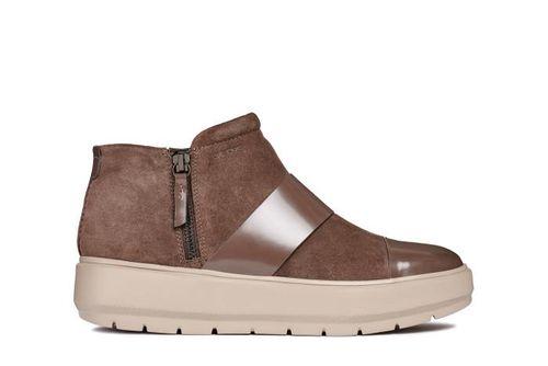 Sneakers Nữ Geox D KAULA E Viền Da Màu Nâu Size 37