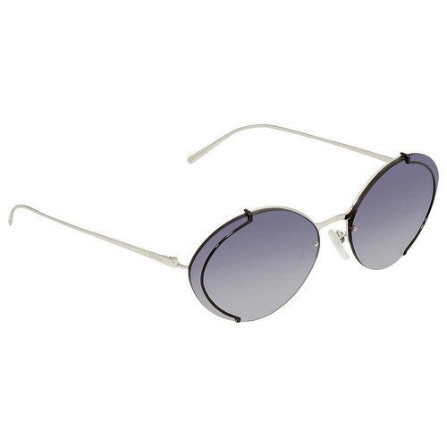 Kính Mát Prada Grey Gradient Blue Mirror Silver Oval Ladies Sunglasses