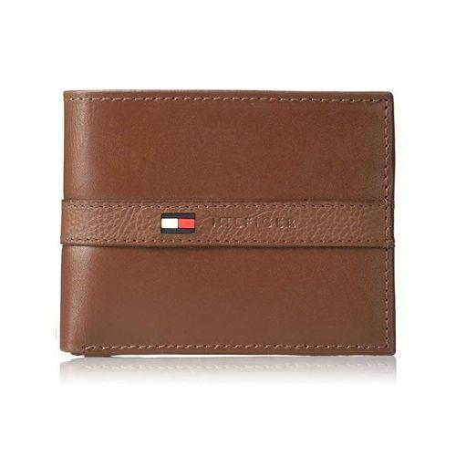 Ví Nam Tommy Hilfiger Men's Leather Wallet - Thin Sleek Casual Bifold Light Tan