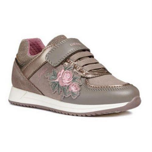 Sneakers Bé Gái Geox J JENSEA G. B SYNT.SUEDE+GBK Họa Tiết Thêu Hoa Màu Be Size 31