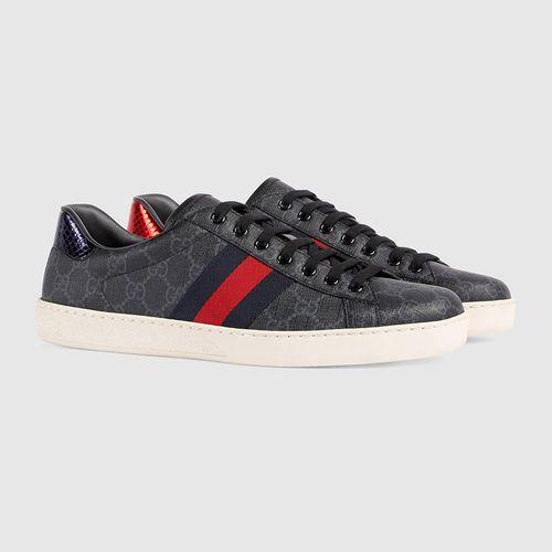 Giày Gucci Men's Ace GG Supreme Sneaker Màu Đen Xám Size 39.5