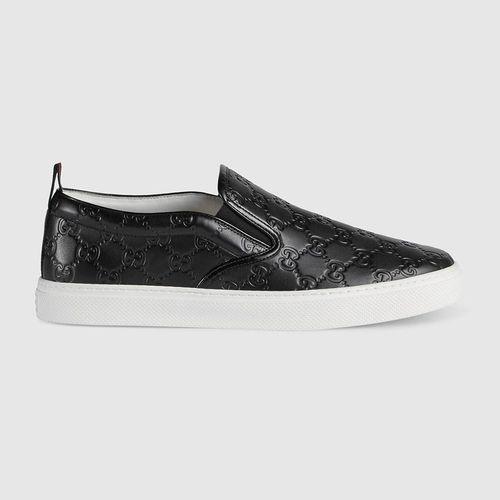Giày Men's Gucci Signature Slip-On Sneaker Màu Đen Size 40.5