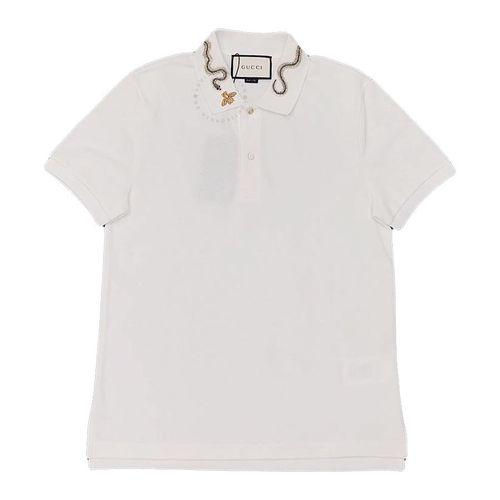Áo Polo Gucci Màu Trắng Cổ Họa Tiết Rắn