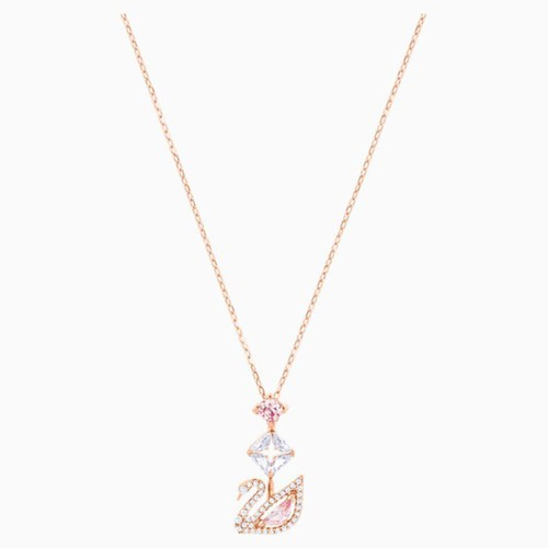 Dây Chuyền Swarovski Dazzling Swan Y Necklace Multi-Colored Rose-Gold Tone Plated