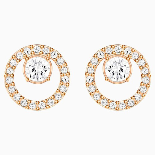 Khuyên Tai Swarovski Creativity Circle Pierced Earrings, White, Rose-Gold Tone Plated