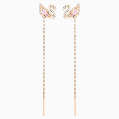 Khuyên Tai Swarovski Dazzling Swan Pierced Earrings, Multi-Colored, Rose-Gold Tone Plated