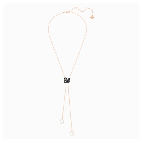Dây Chuyền Swarovski Iconic Swan Y Necklace, Black, Rose-Gold Tone Plated