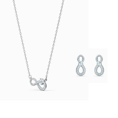 Set Dây Chuyền Và Khuyên Tai Swarovski Infinity Necklace, White, Rhodium Plated