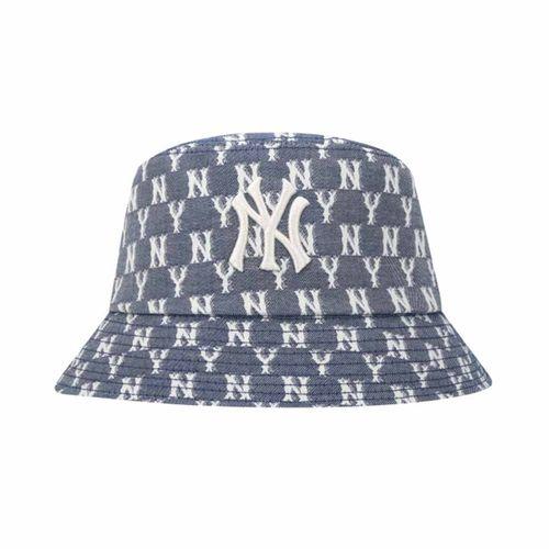 Mũ MLB Monogram Blue Jacquard Bucket Hat 32CPHV111-50N Màu Xanh Bò