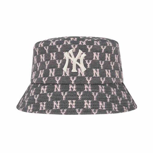 Mũ MLB Monogram Blue Jacquard Bucket Hat New York Yankees 32CPHV011-50L Màu Xám