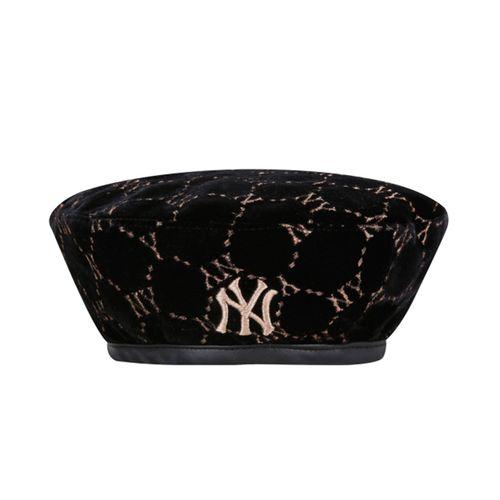 Mũ MLB Monogram Velvet Beret New York Yankees 32CPVG011-50L Màu Đen