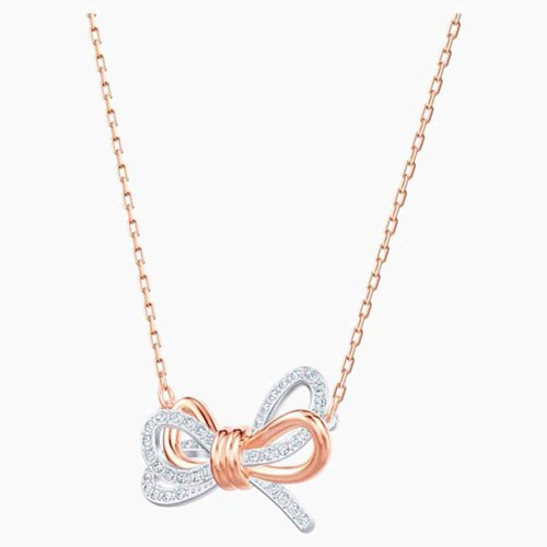 Dây Chuyền Swarovski Lifelong Bow Pendant, White, Mixed Metal Finish