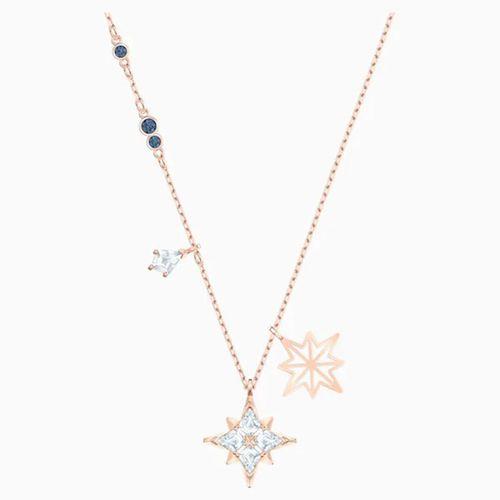 Set Dây Chuyền Khuyên Tai Swarovski Symbolic Star Pendant, White, Rose-Gold Tone Plated