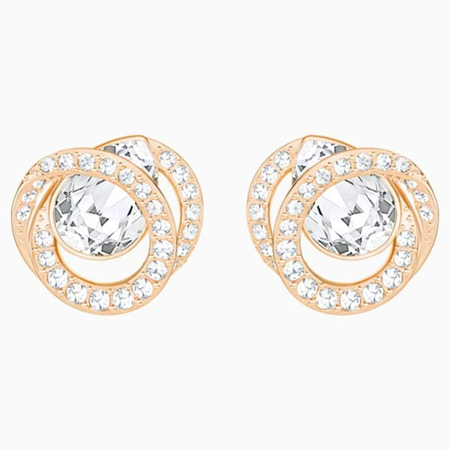 Khuyên Tai Swarovski Generation Stud Pierced Earrings, White, Rose-Gold Tone Plated