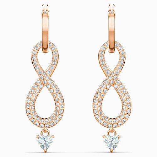 Khuyên Tai Swarovski Infinity Pierced Earrings, White, Rose-Gold Tone Plated