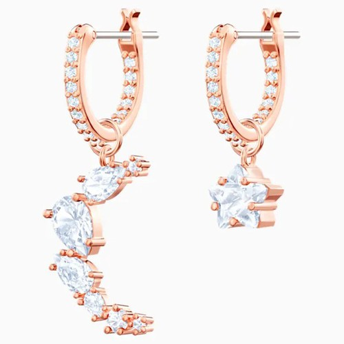 Khuyên Tai Swarovski Moonsun Drop Pierced Earrings, White, Rose-Gold Tone Plated