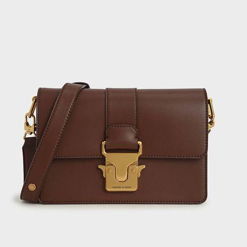 Túi Charles & Keith Metallic Push-Lock Shoulder Bag CK2-20781357 Màu Nâu