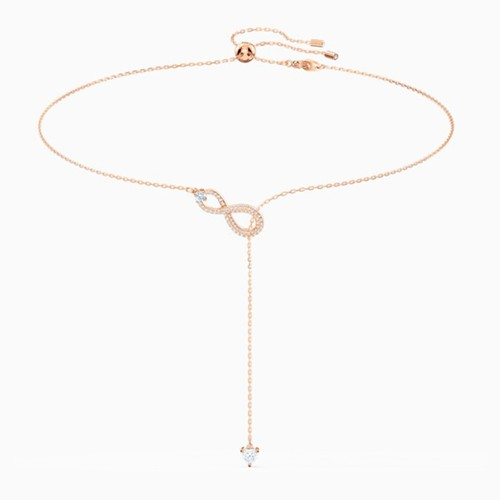 Dây Chuyền Swarovski Infinity Y Necklace, White, Rose-Gold Tone Plated
