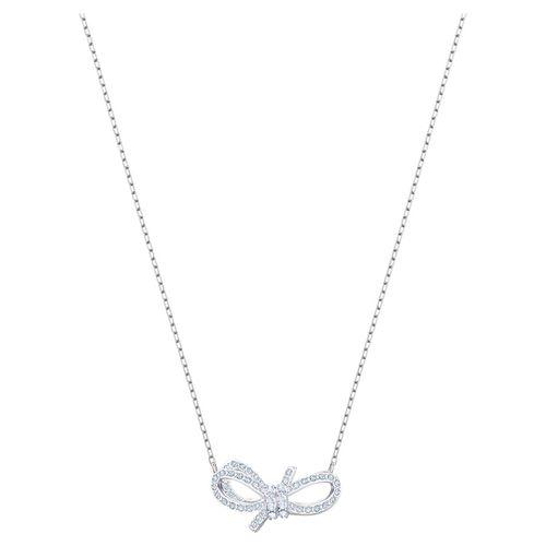 Dây Chuyền Swarovski Lifelong Bow Necklace, White, Rhodium Plated