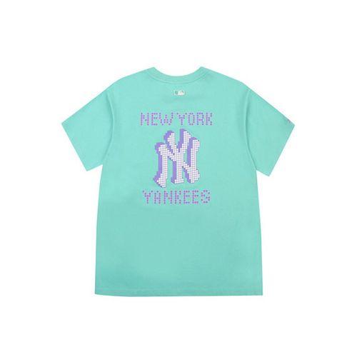 Áo Phông MLB Play Back Pixel Logo Overfit Short Sleeve T-shirt New York Yankees Màu Xanh Ngọc Size M
