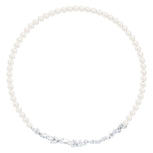 Dây Chuyền Swarovski Louison Imitation Pearl Crystal Leaf Necklace