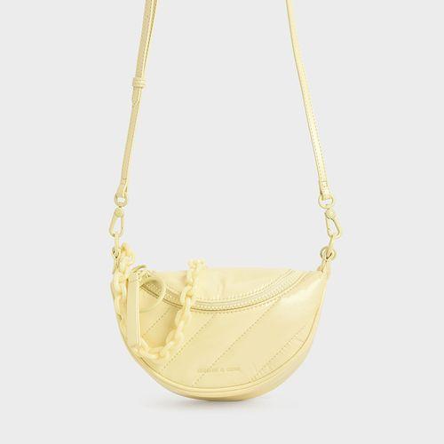 Túi Xách Charles & Keith Patent Wrinkled-Effect Saddle Bag CK2-80151004-2 Màu Vàng Chanh