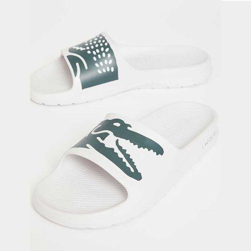 Dép Quai Ngang Lacoste Croco 2.0 Slides White Dark Green Màu Trắng