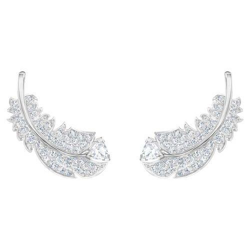 Khuyên Tai Swarovski Nice Stud Pierced Earrings, White, Rhodium Plated