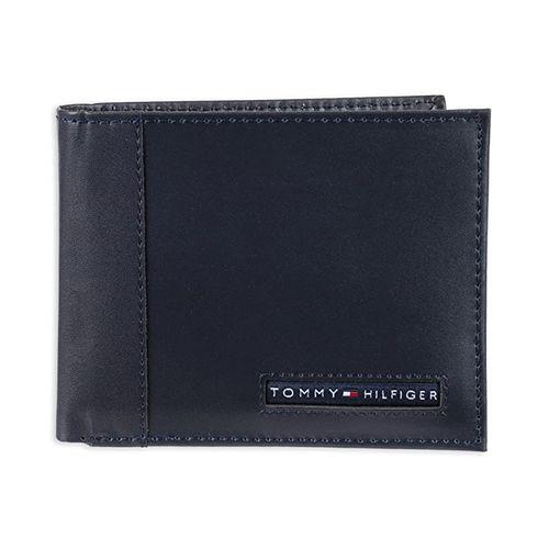 Ví Tommy Hilfiger Men's Leather Wallet  Slim Bifold with 6 Credit Card Màu Xanh Navy