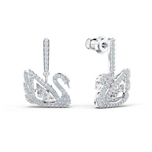 Khuyên Tai Swarovski Dancing Swan Earringsswan, White, Rhodium Plated