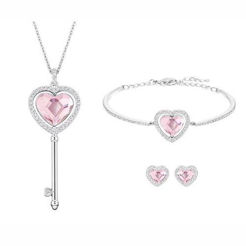 Set Dây Chuyền, Lắc Tay Và Hoa Tai Swarovski Engaged Rhodium-Plated Pink Clear Crystal Jewelry