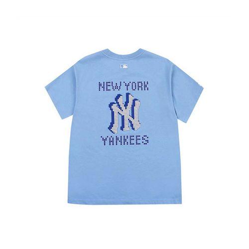 Áo Phông MLB Play Back Pixel Logo Overfit Short Sleeve T-shirt New York Yankees Màu Xanh Nhạt Size S