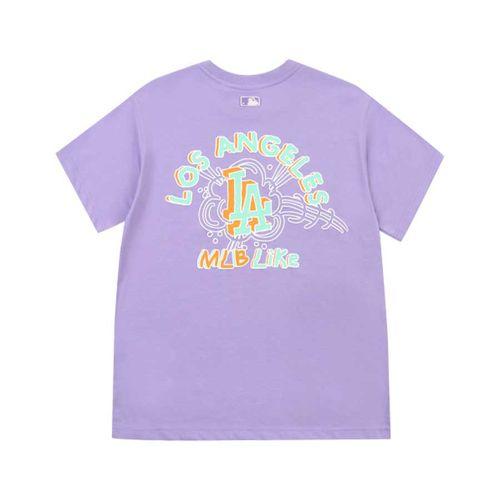 Áo Phông MLB Like Popcorn Overfit Short Sleeve T-Shirt LA Dodgers Màu Tím Size M