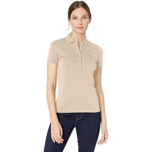 Áo Polo Women's Lacoste Slim fit Stretch Cotton Piqué Màu Be Size 34
