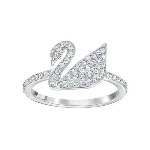 Nhẫn Swarovski Silver-Tone Crystal Swan Logo Ring Size 50