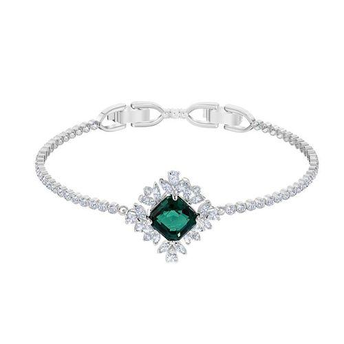 Vòng Tay Swarovski Palace Bracelet, Green, Rhodium Plated