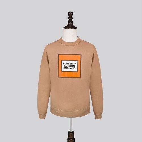 Áo Nỉ Burberry Logo Print Cotton Sweatshirt Màu Nâu Vàng Size S