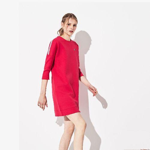 Váy Lacoste Women's Sport Logo Tennis Sweatshirt Dress Màu Đỏ Hồng