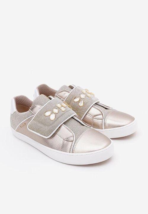 Sneakers Bé Gái Geox J KILWI G. G PRL.SY+GLI.TEXT Màu Vàng Ánh Nhũ Size 35
