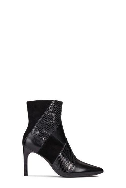 Boots Cao Gót Nữ Geox D FAVIOLA E Phối Họa Tiết Da Rắn Màu Đen Size 37